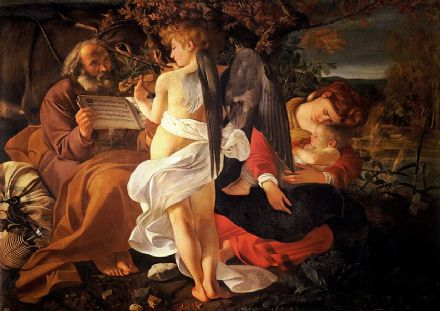 Caravaggio, Michelangelo Merisi da: Rest on the Flight into Egypt. Fine Art Print.  (002091)
